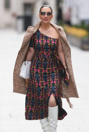 Myleene Klass - Steps out in split dress at Smooth radio London