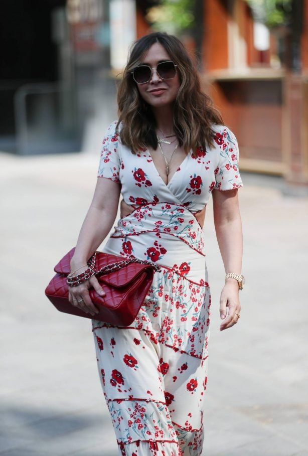Myleene Klass - Wearing floral dress leaving the Smooth Radio Studios in London