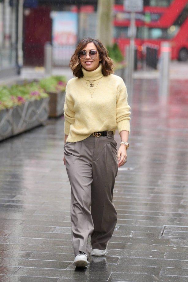 Myleene Klass - Wears beige trousers and jumper at Smooth radio in London