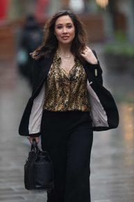 Myleene Klass wears black pantsuit while arrives at Smooth Radio in London