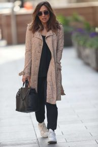 Myleene Klass - Wears embroidered floral coat at Smooth Radio in London