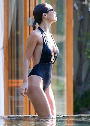Mylene Klass in Black Swimsuit -06