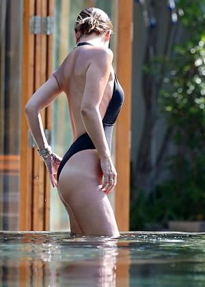 Mylene Klass in Black Swimsuit -15