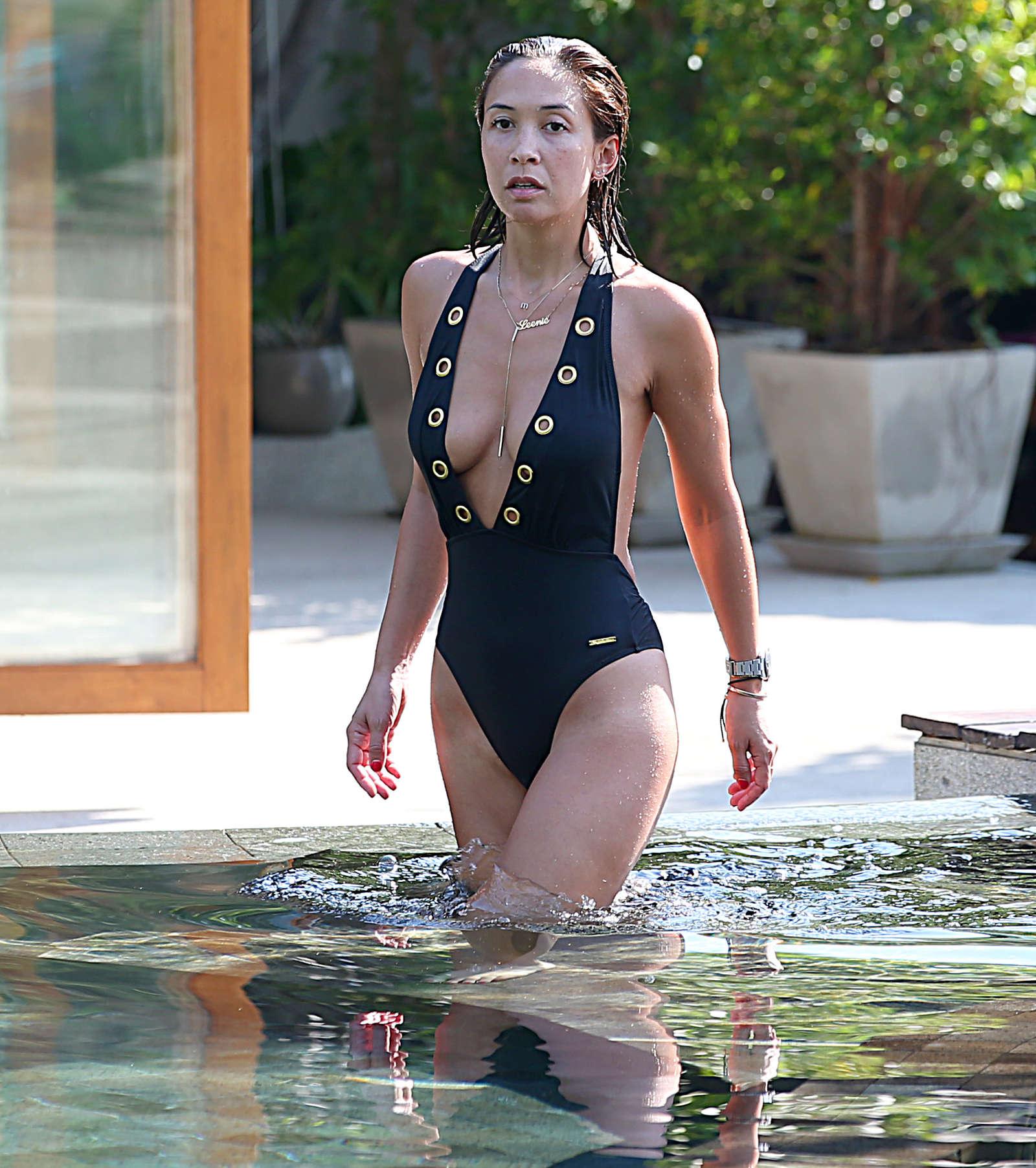 Mylene Klass in Black Swimsuit -30