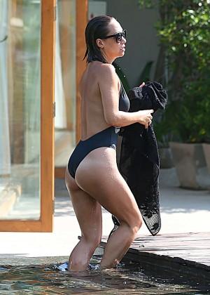 Mylene Klass in Black Swimsuit -36