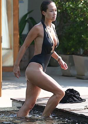 Mylene Klass in Black Swimsuit -38
