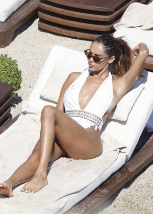 Nabilla Benattia in White Swimsuit on the beach in Mykonos