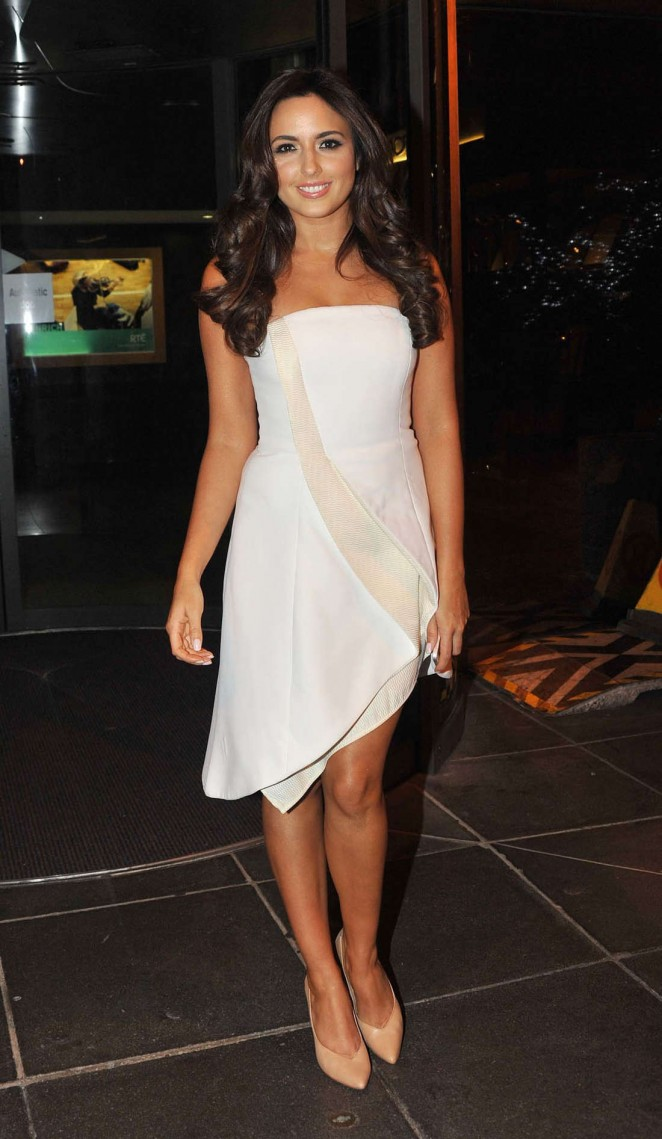 Nadia Forde in White Dress at The Saturday Night Show in Dublin