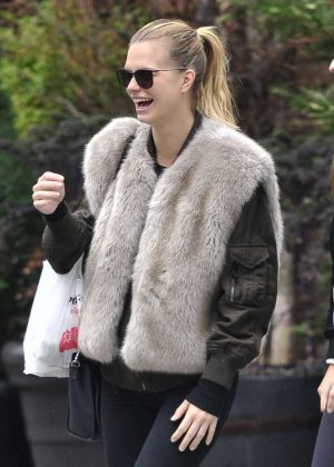 Nadine Leopold in a fur top shopping in New York