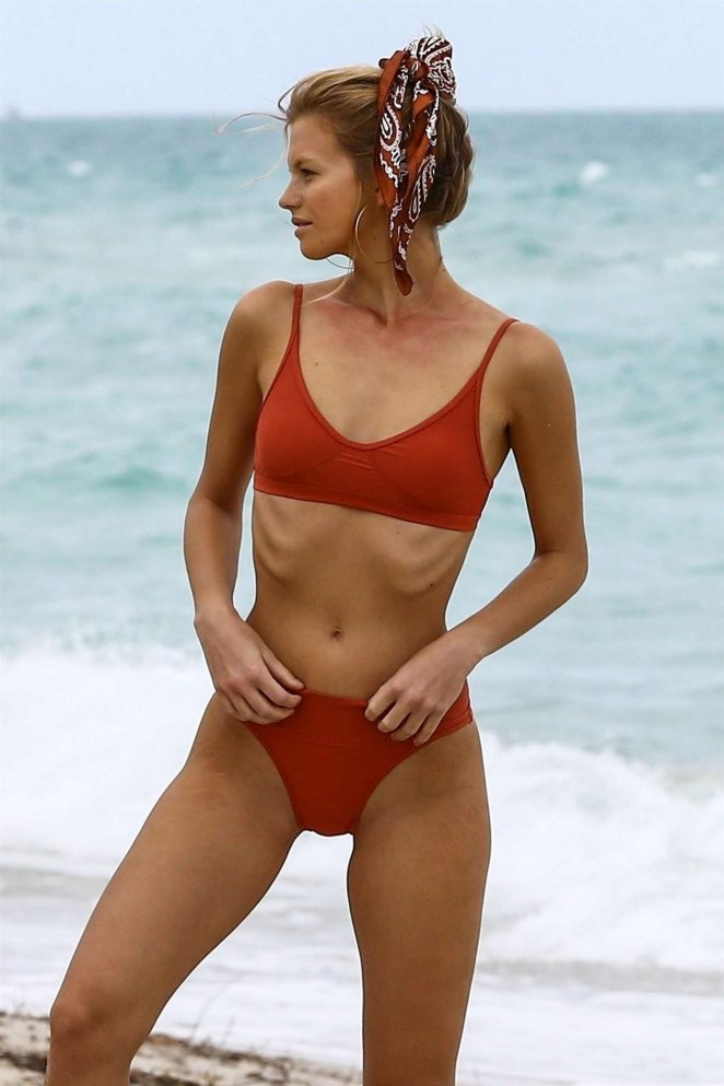 Nadine Leopold in Bikini and Swimsuits - Photoshoot on the beach in Miami