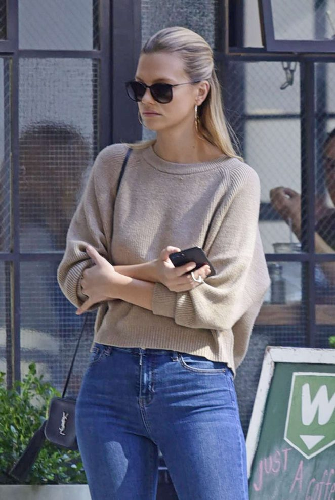 Nadine Leopold in Blue Jeans out in New York