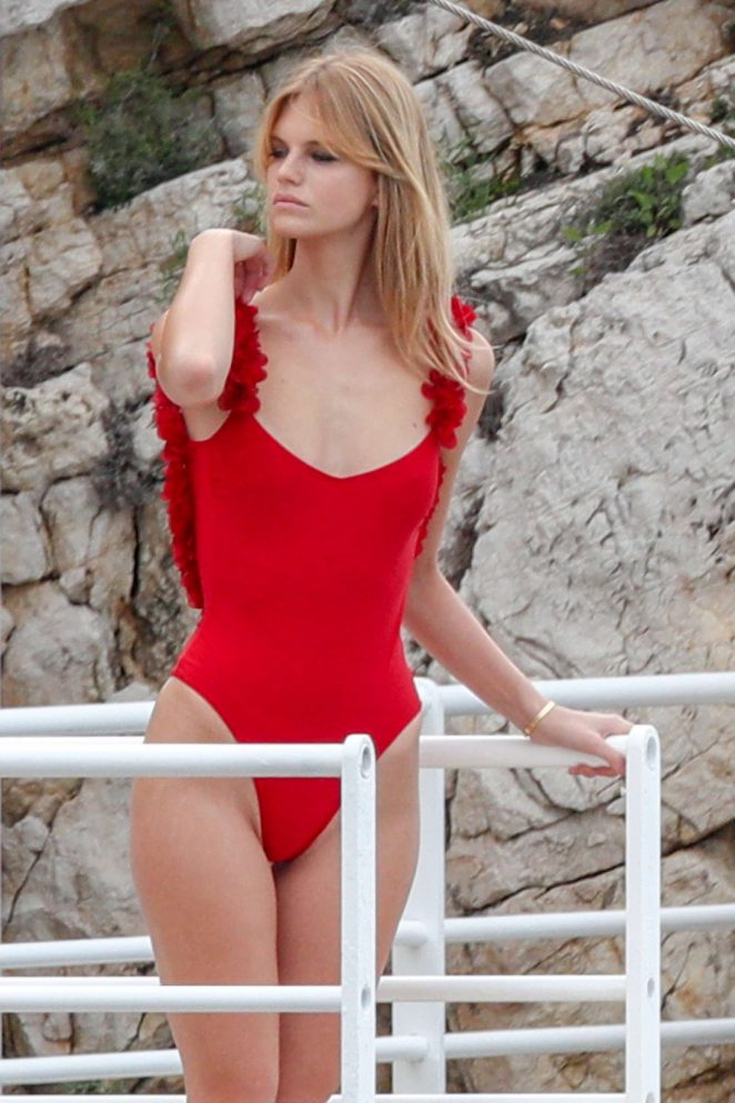 Nadine Leopold in Red Swimsuit - Photoshoot at Eden Roc Hotel in Cannes