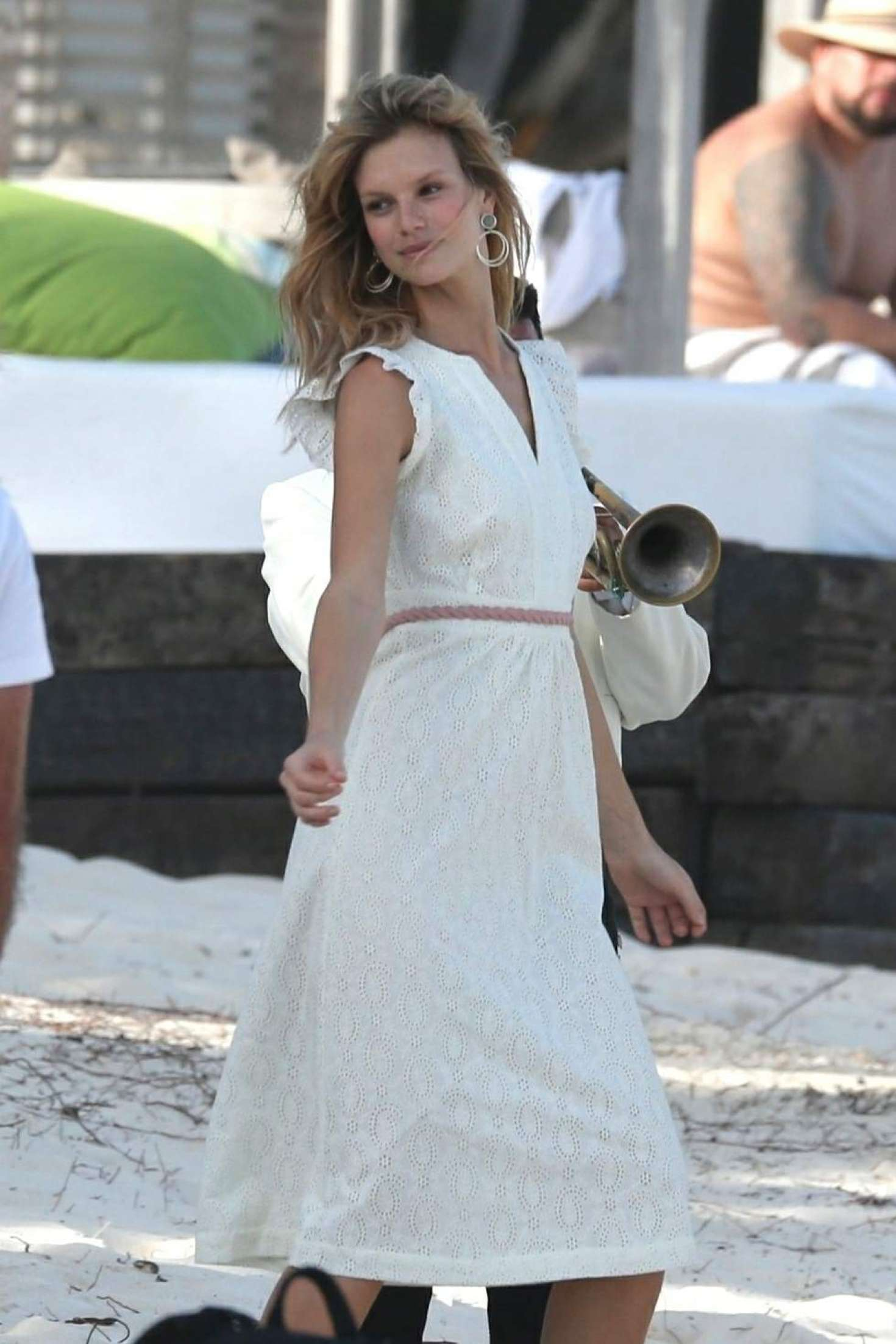 Nadine Leopold in White Dress - Photoshoot on the beach in Tulum