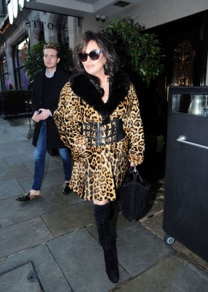 Nancy O'Dell in Leopard Print Coat Out in London