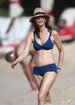 Nancy Shevell in Blue Bikini on the beach in Saint Barthelemy
