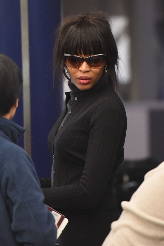 Naomi Campbell - Arrives at JFK airport in New York