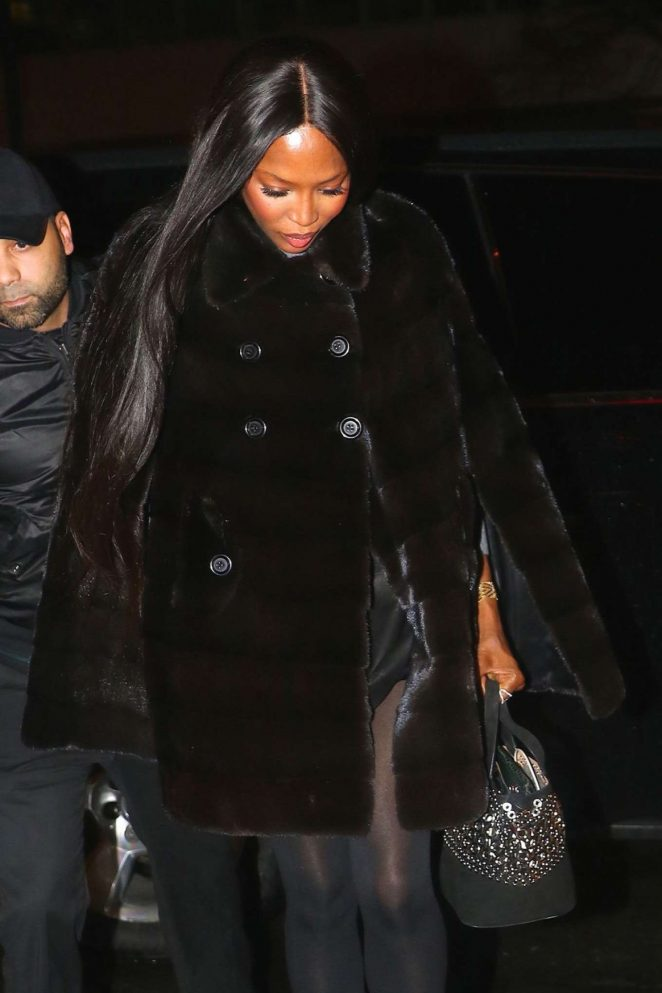 Naomi Campbell in Black Fur Coat Out in New York