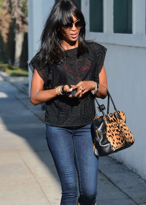 Naomi Campbell in Jeans - Out in Beverly Hills