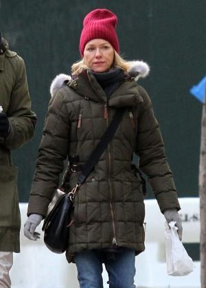 Naomi Watts and Leiv Schreiber walk in the Tribeca Neighborhood in NYC