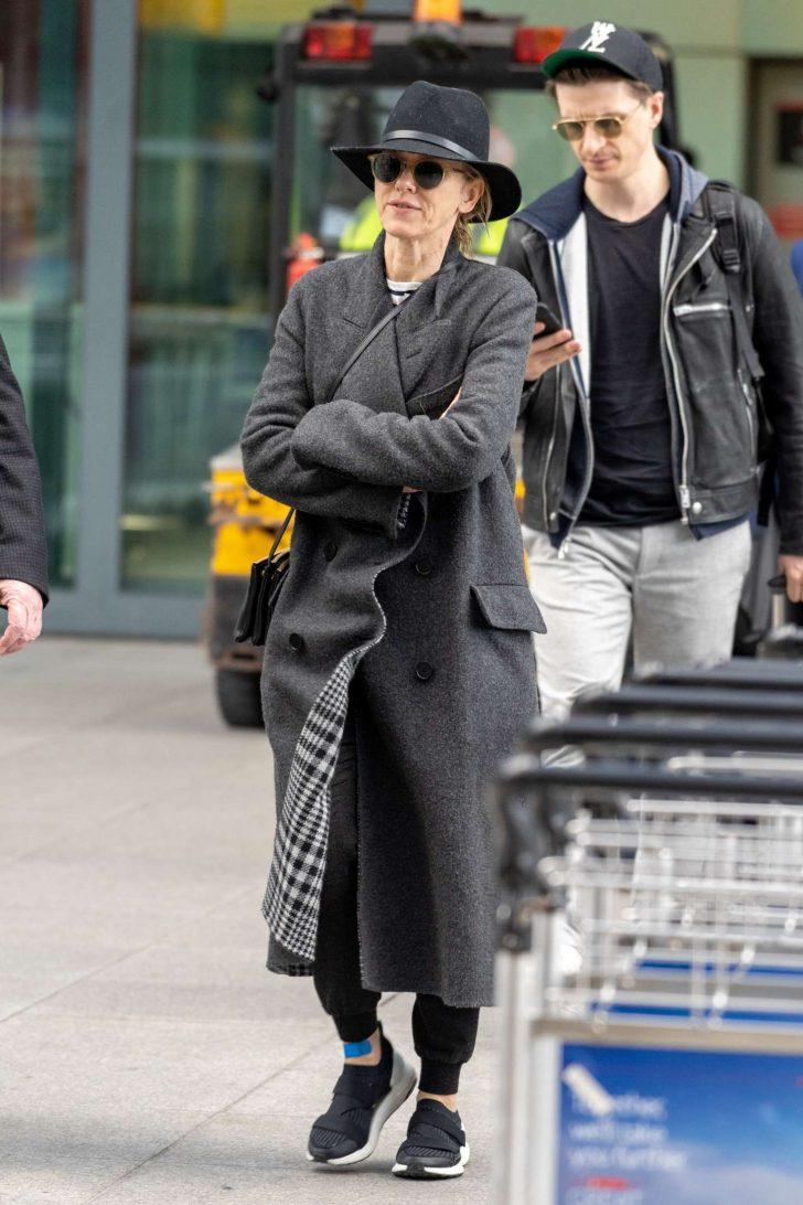 Naomi Watts: Arrives at Heathrow Airport -06