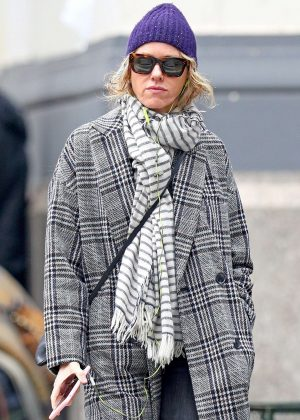 Naomi Watts in a plaid trench coat out in New York
