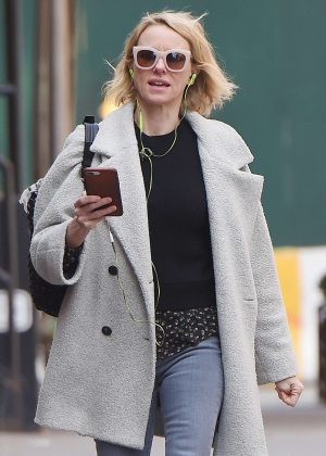 Naomi Watts in a shealing coat out in NYC