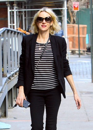 Naomi Watts in Black Jeans out in New York City
