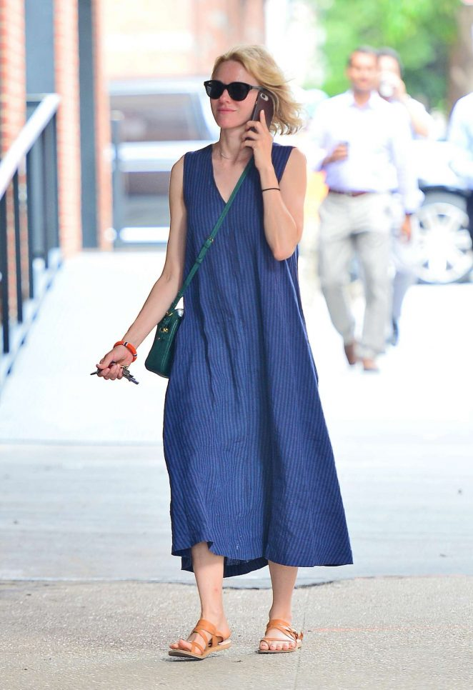 Naomi Watts in Blue Dress out in New York City