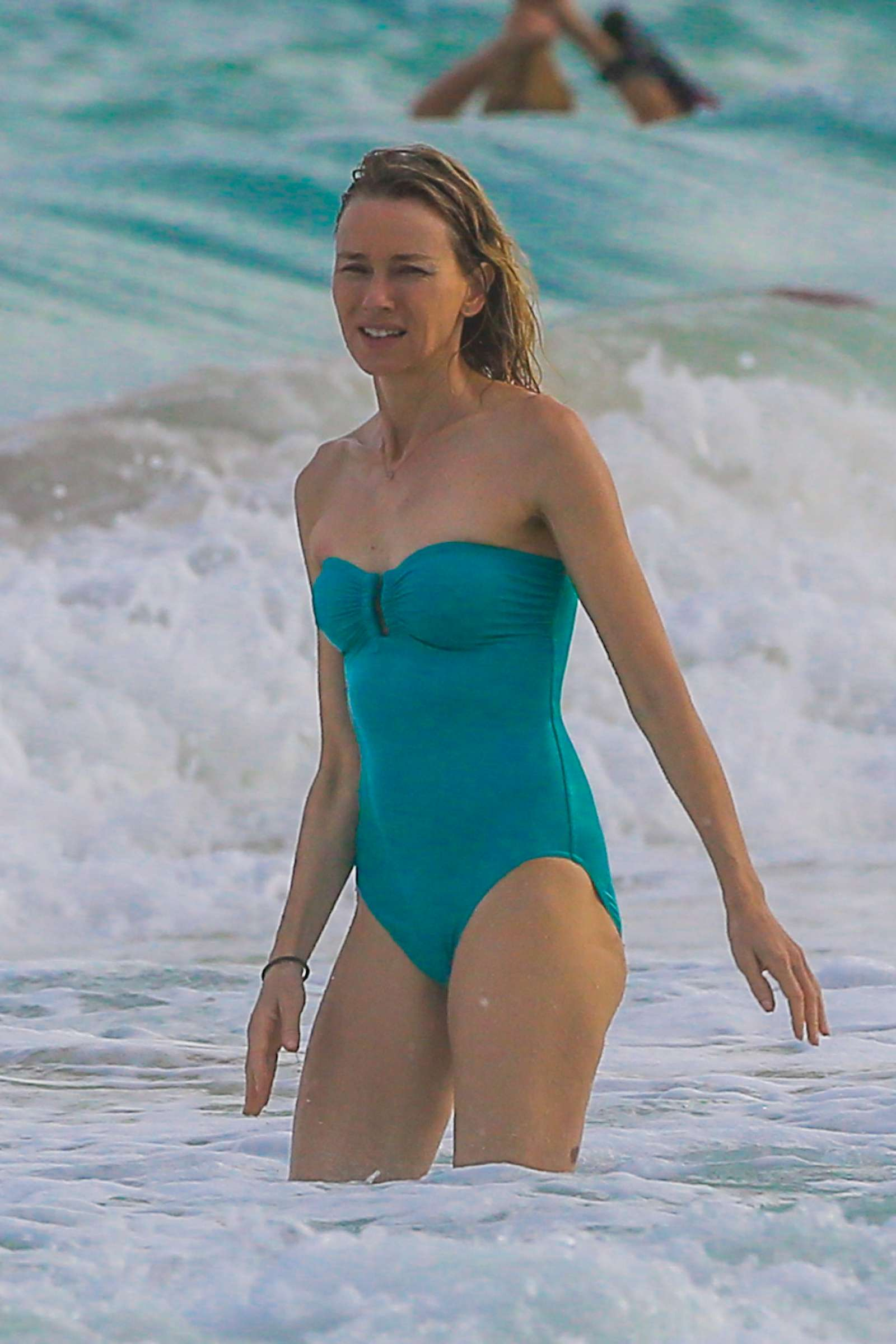 Naomi Watts in Blue Swimsuit on the Beach in Cancun