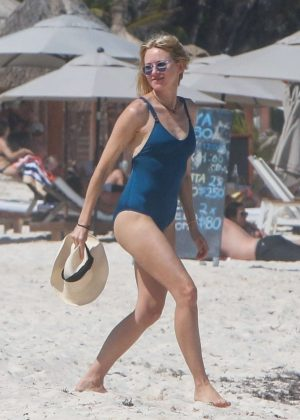 Naomi Watts in Blue Swimsuit on the beach in Tulum
