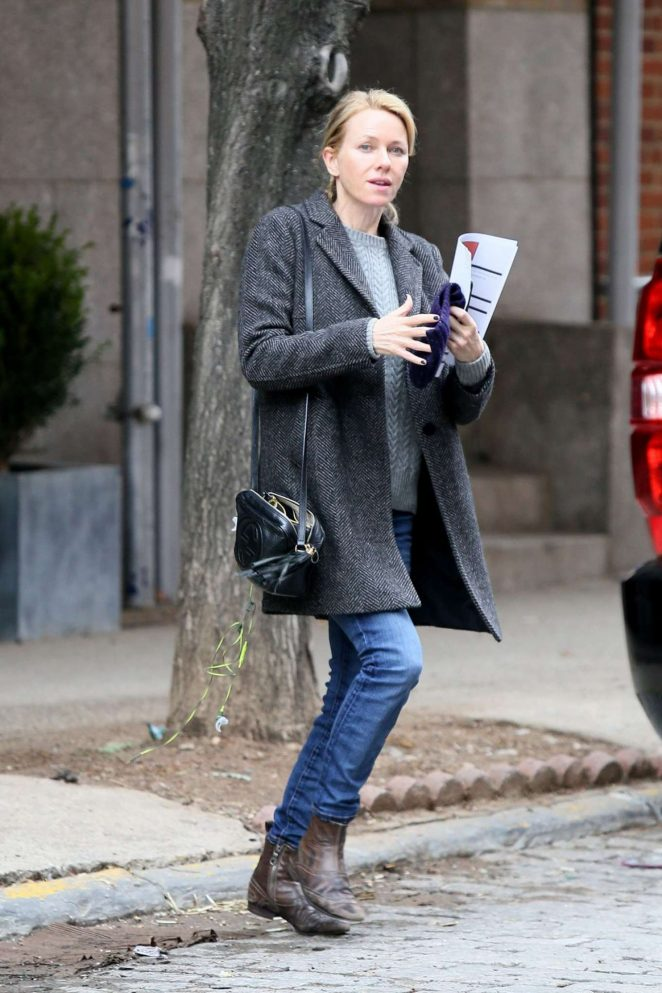 Naomi Watts in Coat and Jeans Out in New York