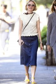 Naomi Watts in Denim Skirt - Out in New York