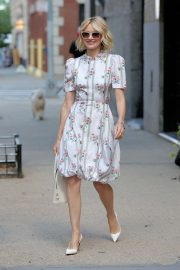 Naomi Watts in Floral Summer Dress - Leaves her apartment in New York