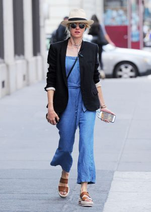Naomi Watts in Jeans Jumpsuit out in Tribeca