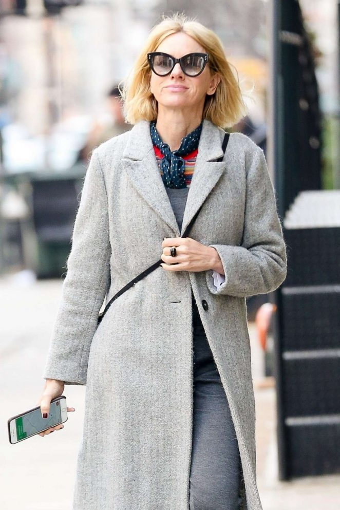 Naomi Watts in Long Coat Out in New York