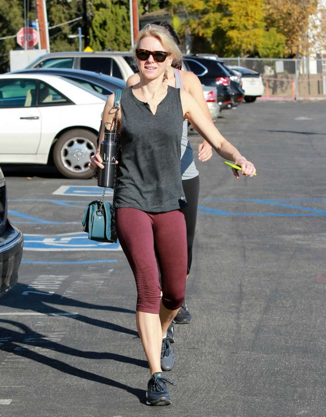 Naomi Watts in Leggings Leaving The Gym in Brentwood