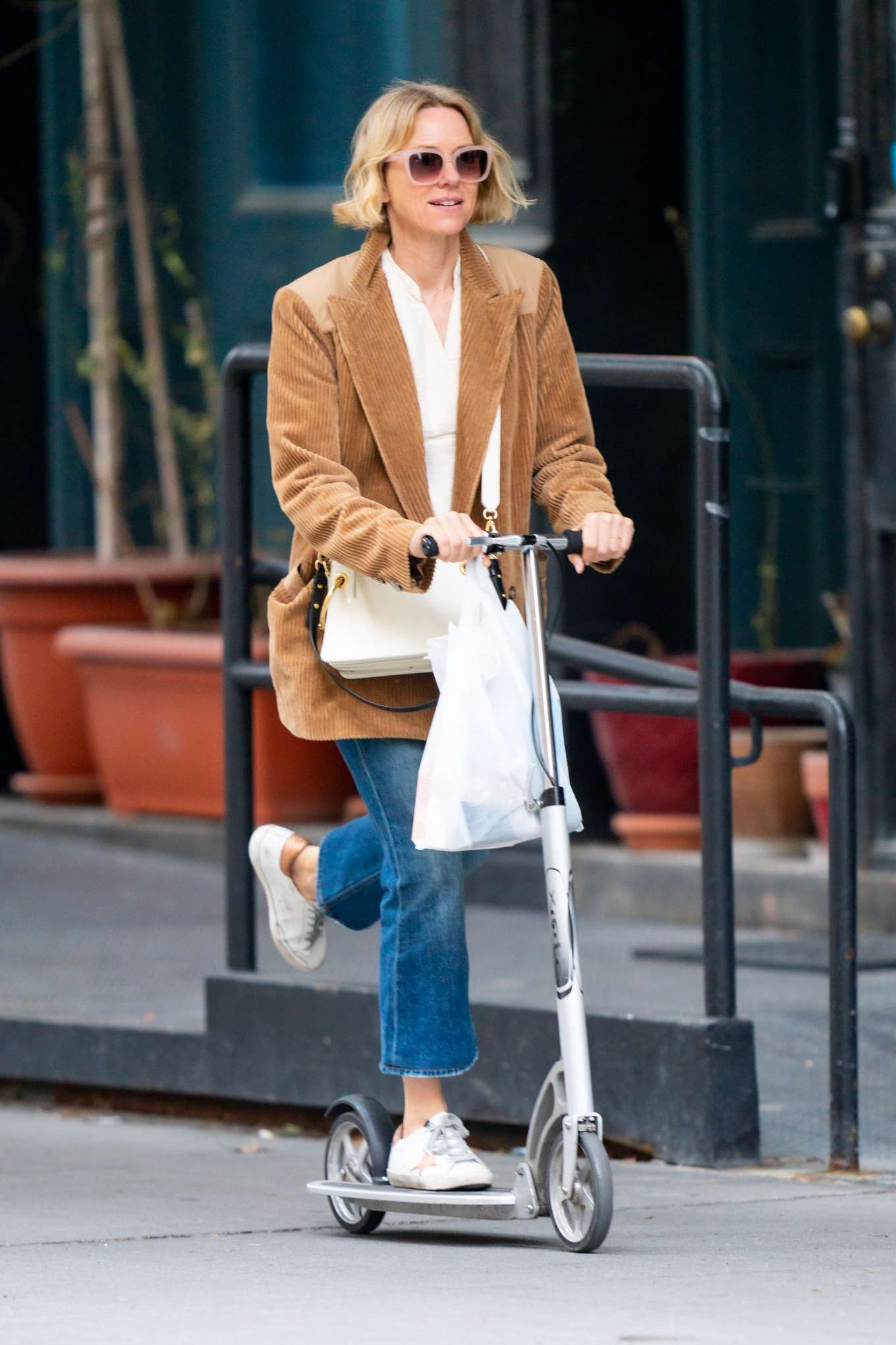 Naomi Watts 2020 : Naomi Watts – Out doing errands on a scooter in New York City-05