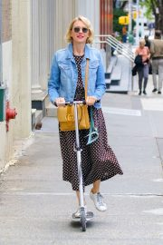 Naomi Watts Ride a Scooter - Out in New York
