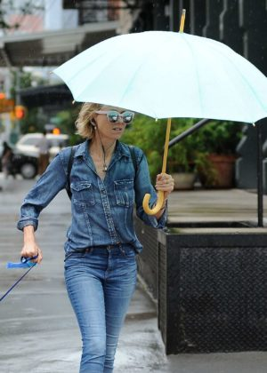Naomi Watts takes her dog Bob for a walk in New York City