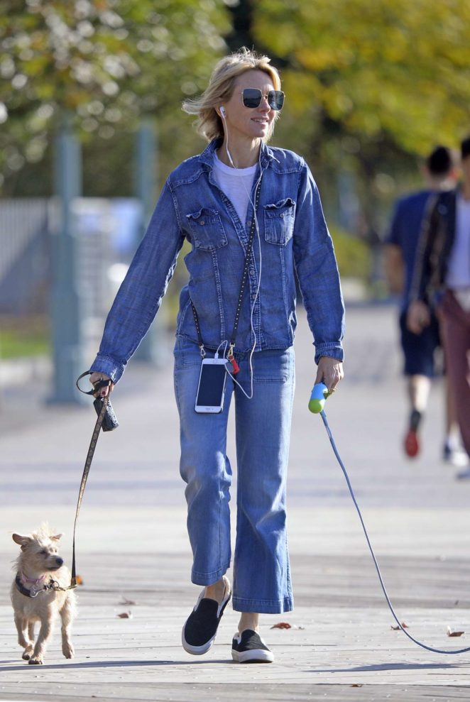 Naomi Watts - Walking her dog at the dog park in Tribeca