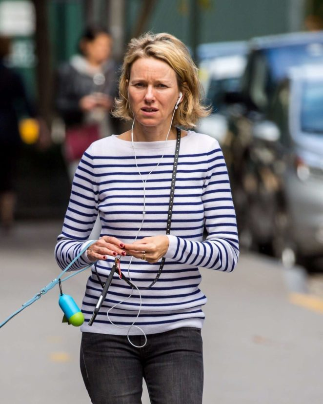 Naomi Watts walking her dog in New York City