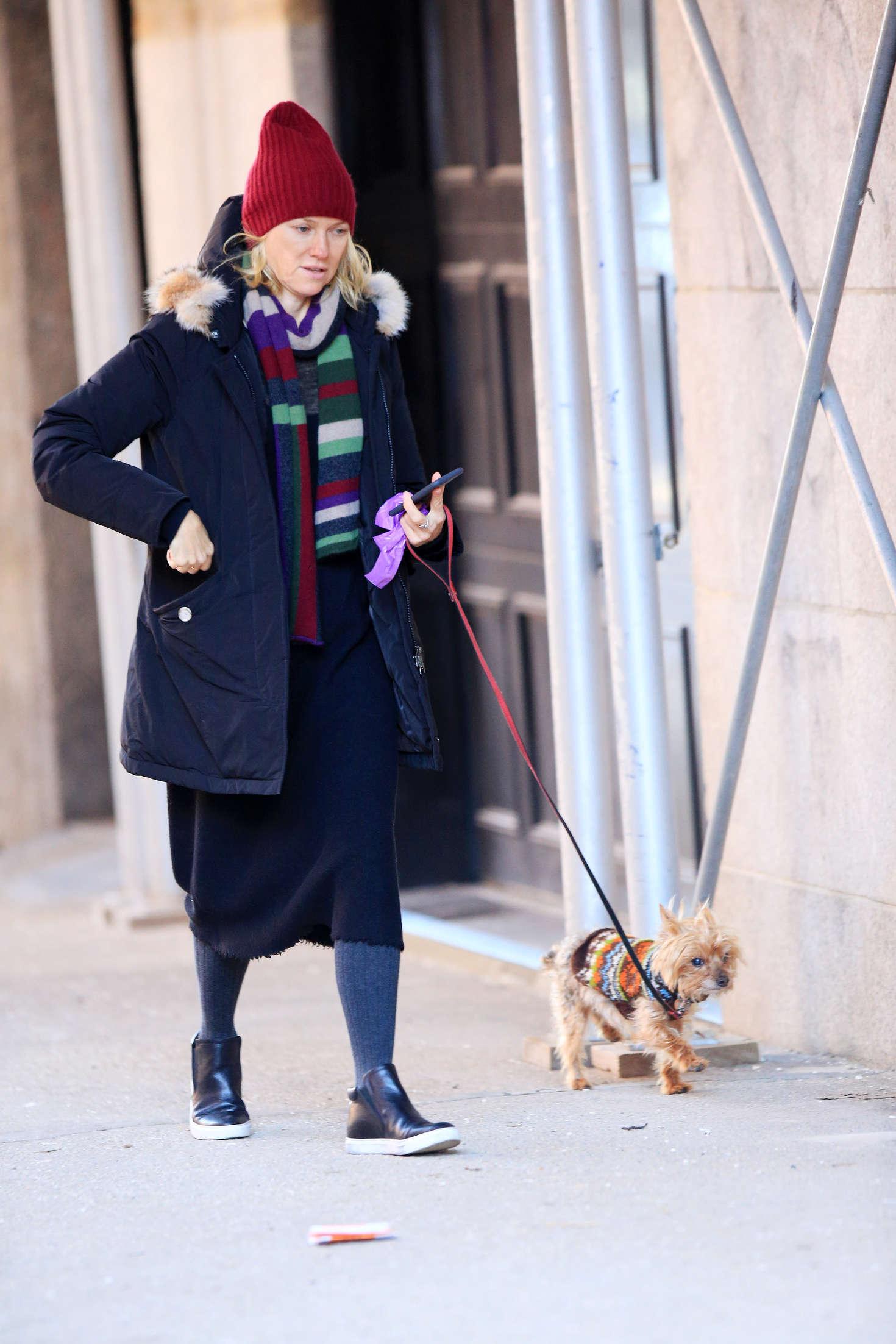 Naomi Watts - Walking her Dog in NY