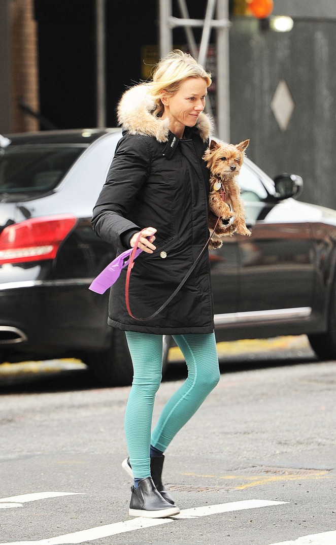 Naomi Watts - Walking her dog in NYC