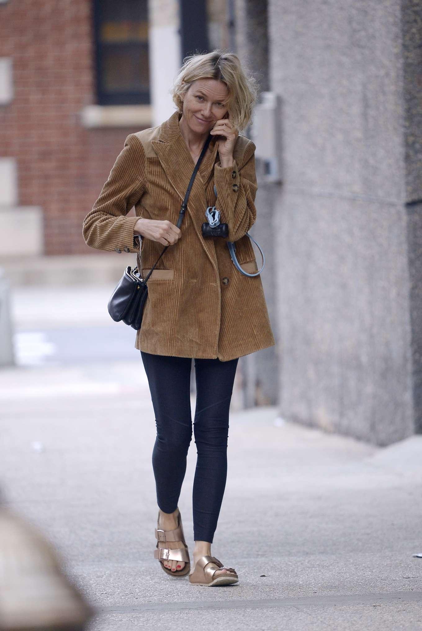 Naomi Watts - Walks her dog in New York City