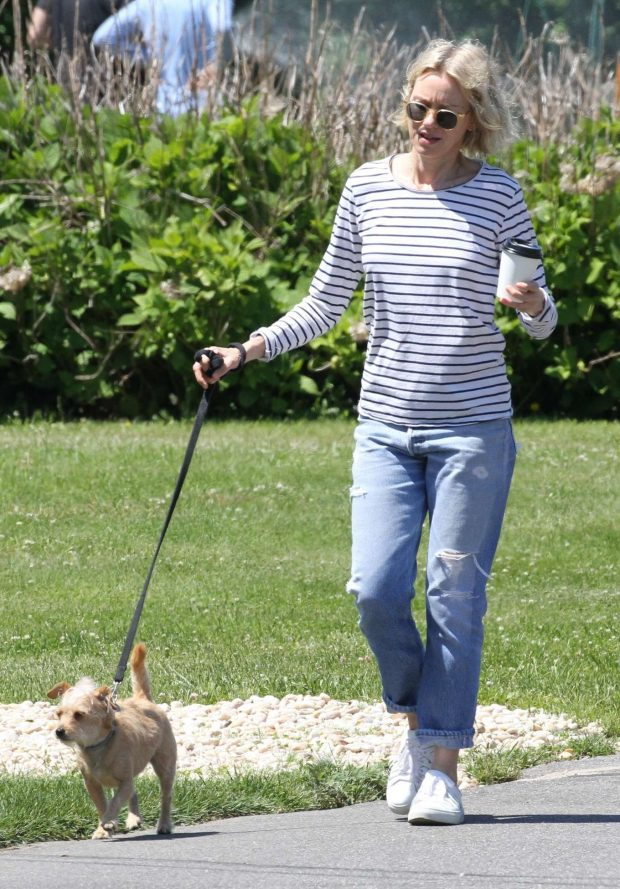 Naomi Watts with her dog out in East Hampton