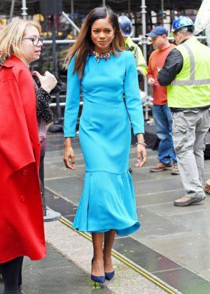 Naomie Harris in Blue Dress - Out in Manhattan