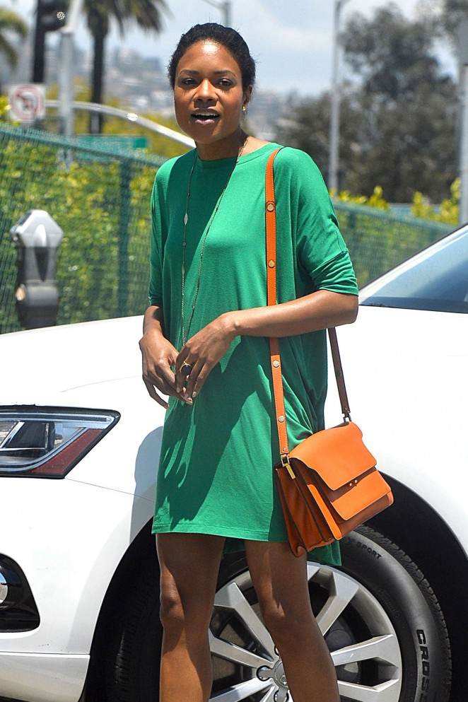 Naomie Harris in Green Mini Dress Out in Beverly Hills
