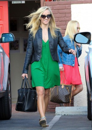 Nastia Liukin in Green Dress at DWTS -17