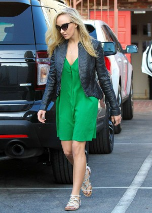 Nastia Liukin in Green Dress at DWTS -18