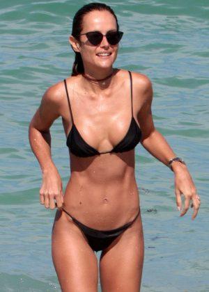 Natalia Borges in Black Bikini on the beach in Miami